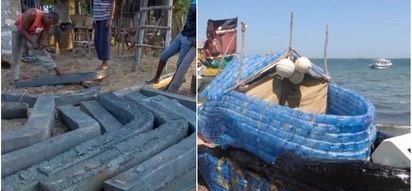 From bottles to boats! Kenyan men turn plastic wastes into fishing and transport vessels