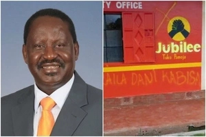 Jubilee Party offices BADLY destroyed, walls covered with Raila graffiti