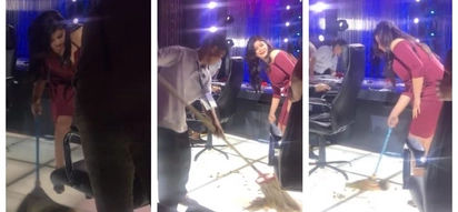 Walang ka-ere-ere! Angel Locsin helps staff sweep the floor on PGT set