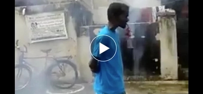 Bobo o matapang? Man dangerously lights dynamites in his mouth