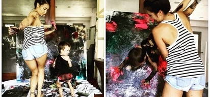 Fun tita she is! Solenn Heussaff bonds with her nephew as they paint her art pieces together