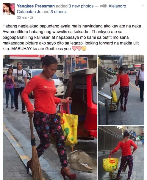 Netizens applaud this cleaning lady wearing high heels