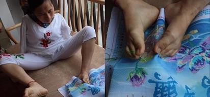 This armless woman wows us with her beautiful embroidery done with her feet