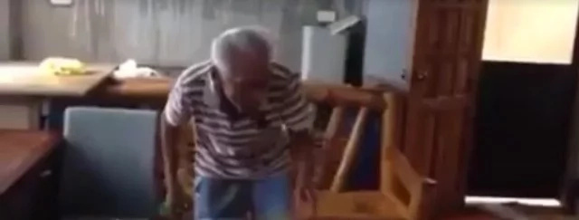Granpa dancing #RunningManChallenge caught on video