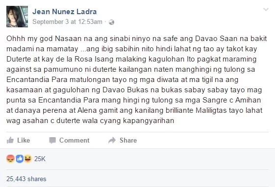 Angry netizens lambast woman who joked about Davao blast