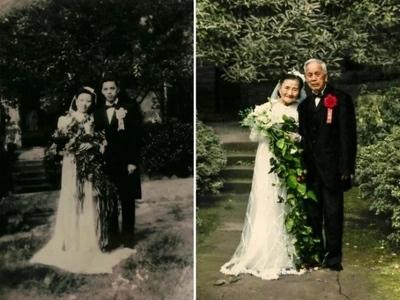 Pareja de 98 años recreó su boda en su 70 aniversario