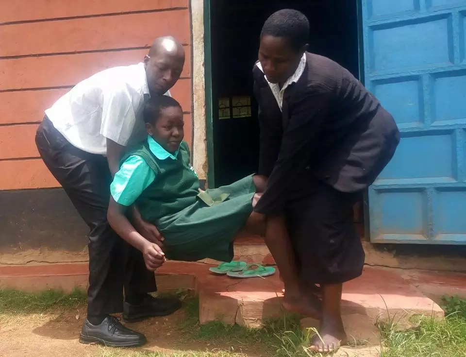 OH NO! Nyabururu Girls KCSE candidate's dreams in tatters after being struck by a mysterious illness (photos, video)