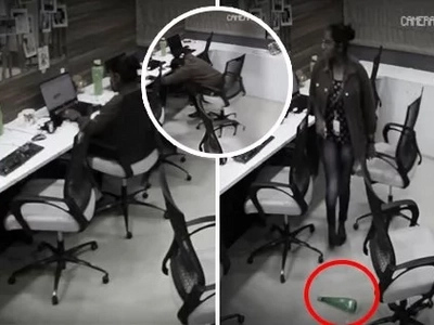An office worker was staying late when she felt some supernatural force. On checking the CCTV footage, scary ghost attacks were seen in the office!