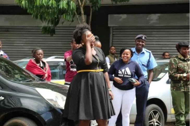 Churchill show comedian LITERALLY shuts down Kimathi street to propose to his BAE (photos)
