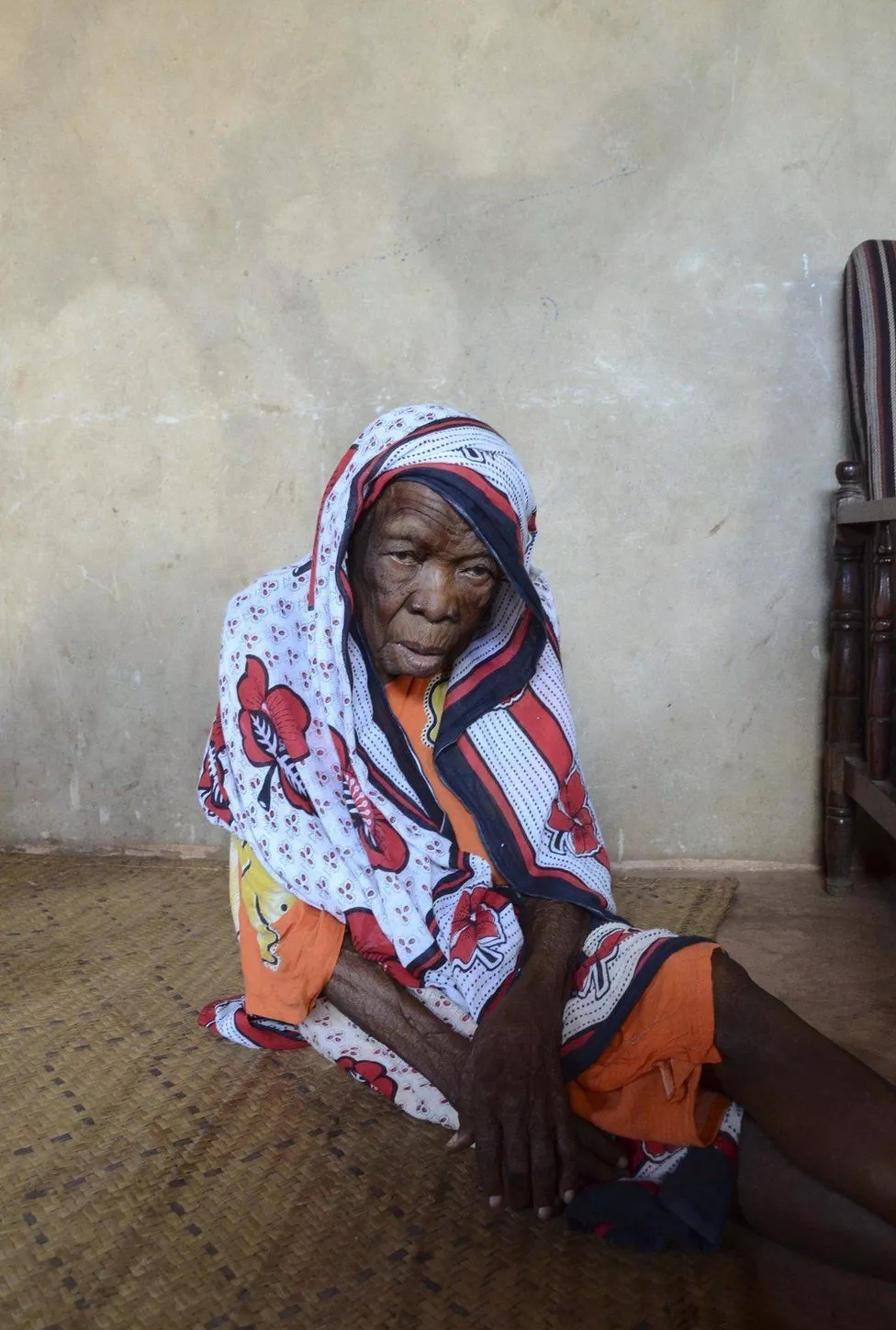 She is said to be the oldest woman in her village. Photo: BBC/Leah Beach