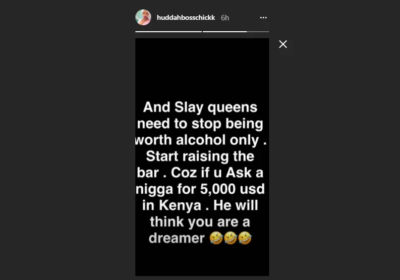 Stop risking your entire future for a few bottles -socialite Huddah Monroe warns slay queens