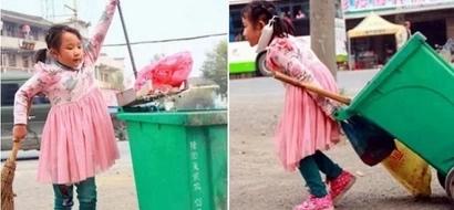 Niña de 5 años aligeró a su abuela enferma de su trabajo diario y limpió las calles