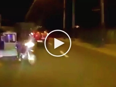Reckless tricycle driver loses control of vehicle and violently collides with car in Antipolo