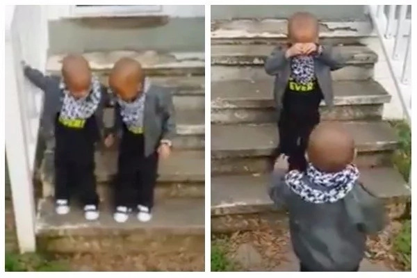 One brother jumped without his twin brother, causing him to cry. Photo: YouTube
