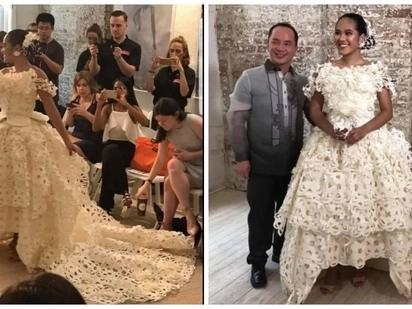 This Filipino designed a gown using tissue paper and won an award for it!