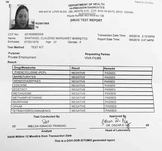 Claudine Barretto voluntarily took drug test