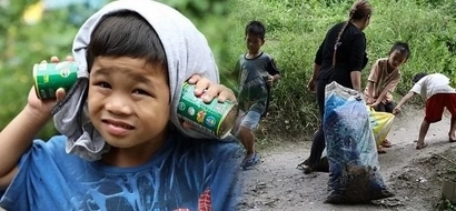 Hardworking 8-year-old boy collects garbage to exchange for sardines to feed his family