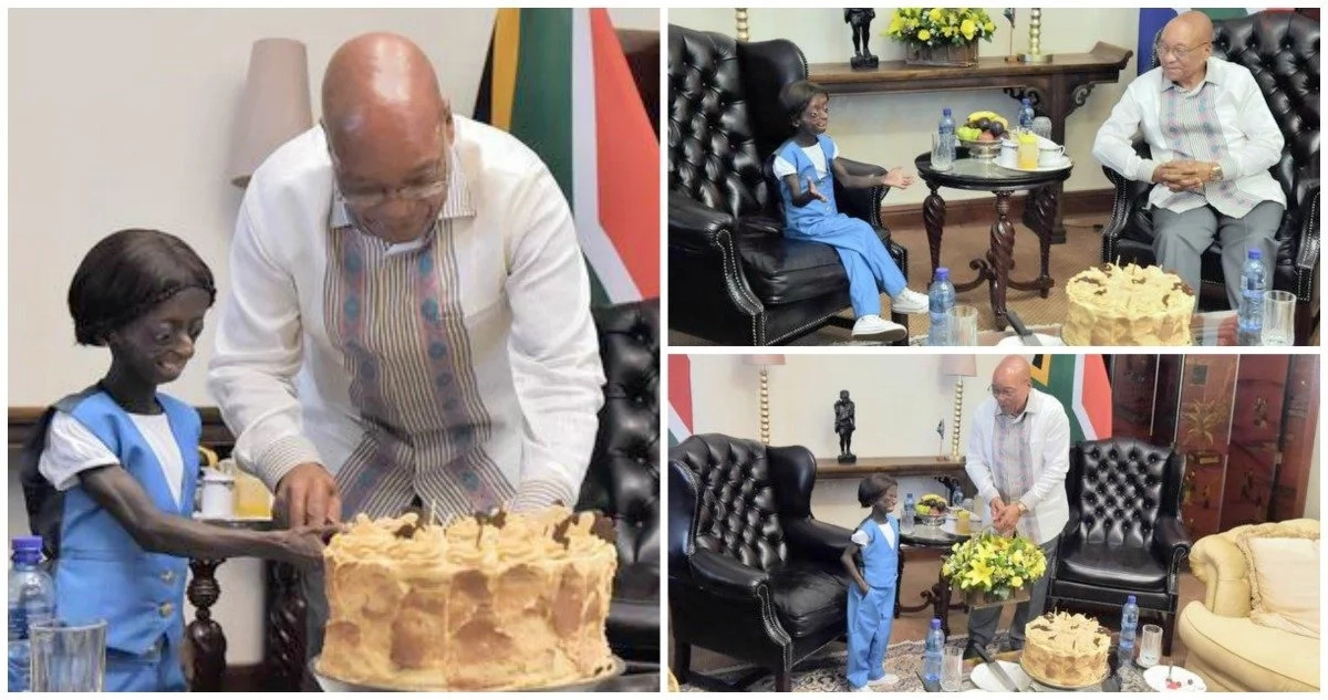 Touching! President celebrates 18th birthday with first black girl trapped in body of 100-year-old pensioner (photos, video)