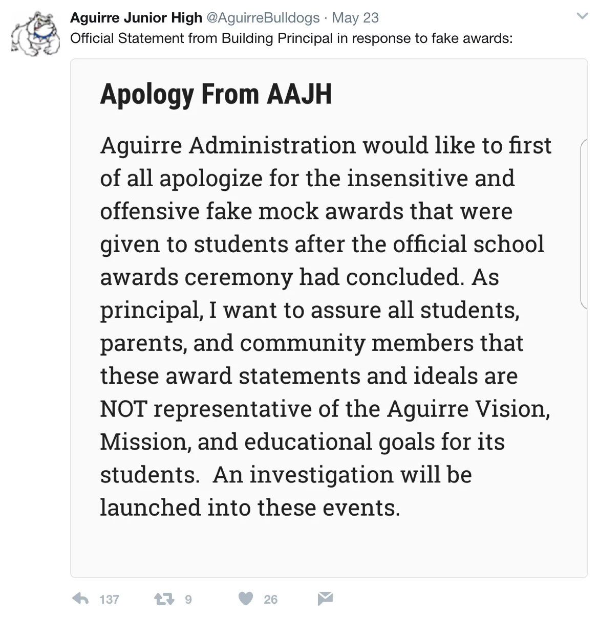 Student awarded 'Most Likely to Become a Terrorist' award cries foul, demands firing of school teacher.