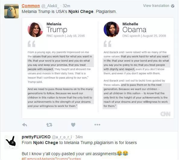 Kenyans mock Njoki Chege, Donald Trump's over stolen speech