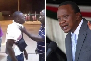 An unknown man walks to Uhuru Kenyatta's car, then Uhuru slaps him across the face (video)