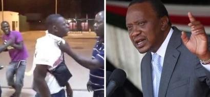 An unknown man walks to Uhuru Kenyatta's car, then Uhuru slaps him across the face (video)