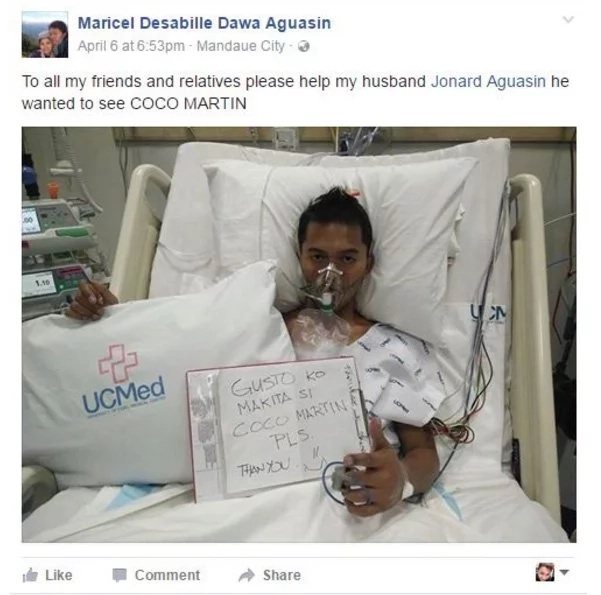 Man in critical condition wishes to see Coco Martin