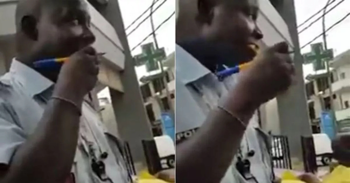Busted! Cop, 35, swallows bribe money after being caught red-handed accepting it