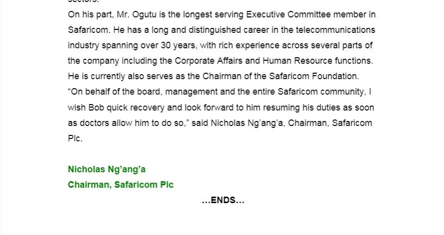 Bob Collymore aondoka Safaricom kwa muda kutokana na sababu hii