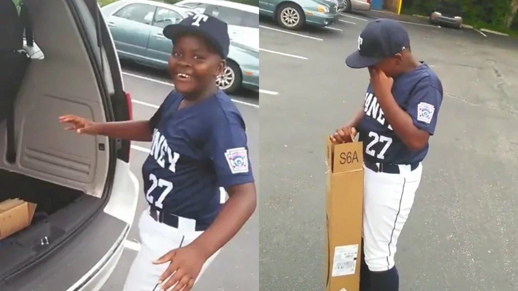 Boy who wept after receiving baseball bat as birthday gift from dad hits home run with same bat