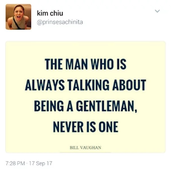 Kim Chiu's post about being a gentleman leaves netizens wondering who she's referring to