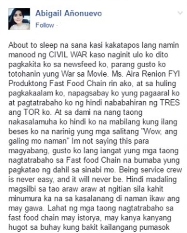 Many former fastfood crew stand behind the girl who defended them from basher