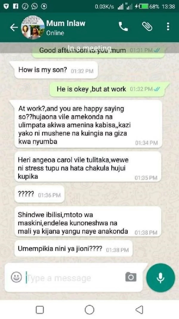 Mother-in-law from hell:Girl leaks the disturbing messages she received from her her mother-in-law