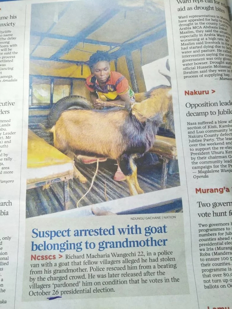 Goat thief released from Central Kenya cell after promising to vote for Uhuru