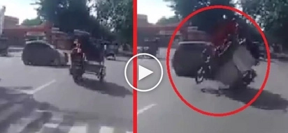 Brutal na banggaan! Overloaded tricycle violently crashes into moving car in Tanay
