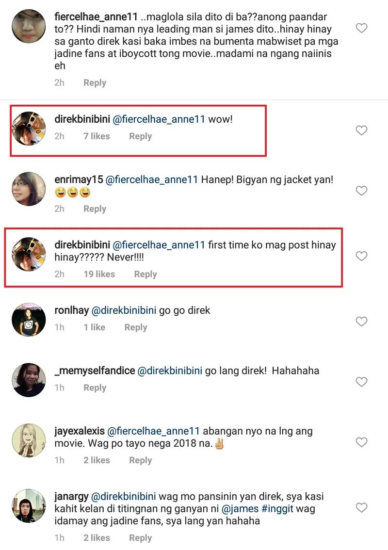 Netizen comments, threatens Joyce Bernal that Jadine fans will boycott Miss Granny movie