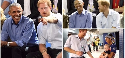 Royal bromance! Prince Harry hangs out with Barack Obama and charms adorable babies