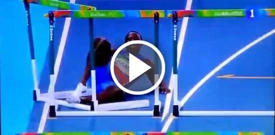 Mira la inolvidable caída de un atleta haitiano en los 110 metros con vallas