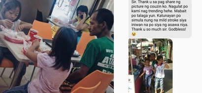 Photo of a father watching his children eat delicious food in a fast food chain touches the hearts of netizens