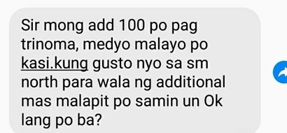 Seller asks buyer to add P100 for their meet-up in Trinoma, suggests SM North Edsa for free transaction