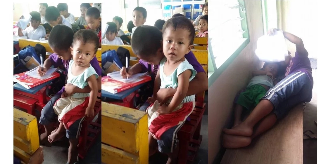 Kid brings his younger brother along with him to school after their mom died of ectopic pregnancy