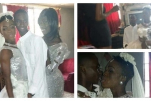 Gay men officially tie the knot in Sierra Leone, one even wears wedding dress during ceremony (photos)