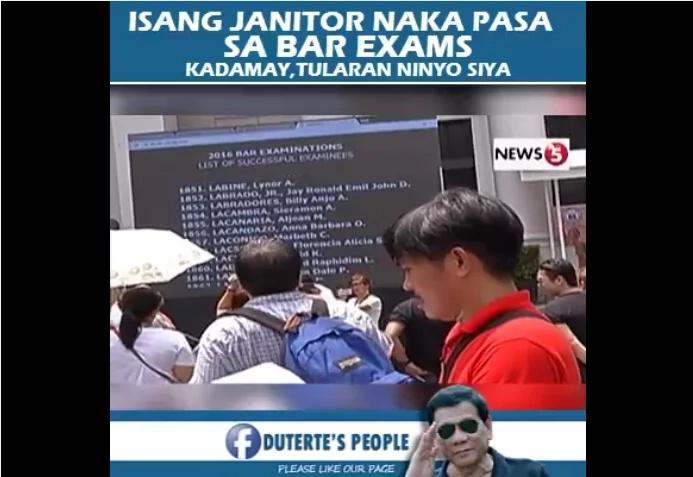 Pinoy Ex-Janitor Passing the 2016 Bar Exam Went Trending Worldwide.