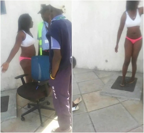 Kenyan lady storms her ex-lovers workplace and undresses (Photos)