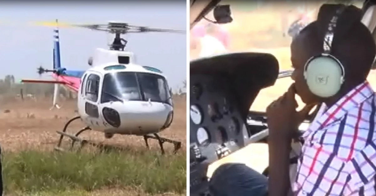 One African student arrives to school in a chopper, bringing operations to a standstill