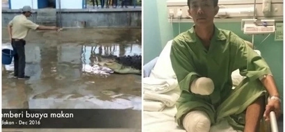 Man, 35, survives 5-metre crocodile attack but LOSES hand and leg (photos)