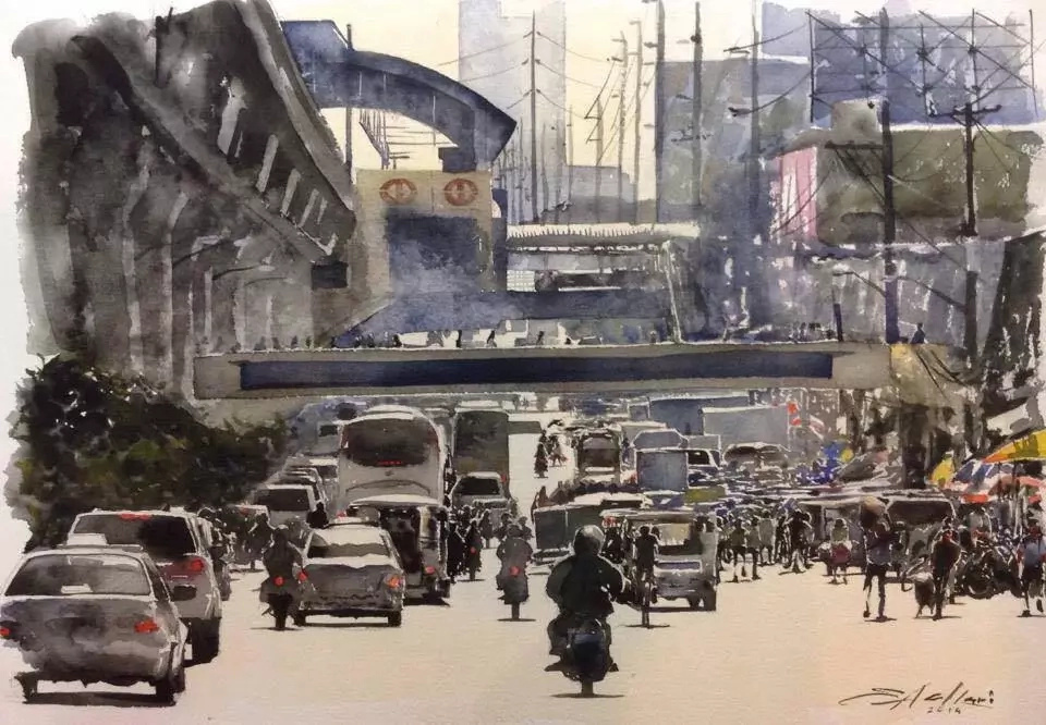 Filipino paintings show unbelievably realistic everyday traffic scenes
