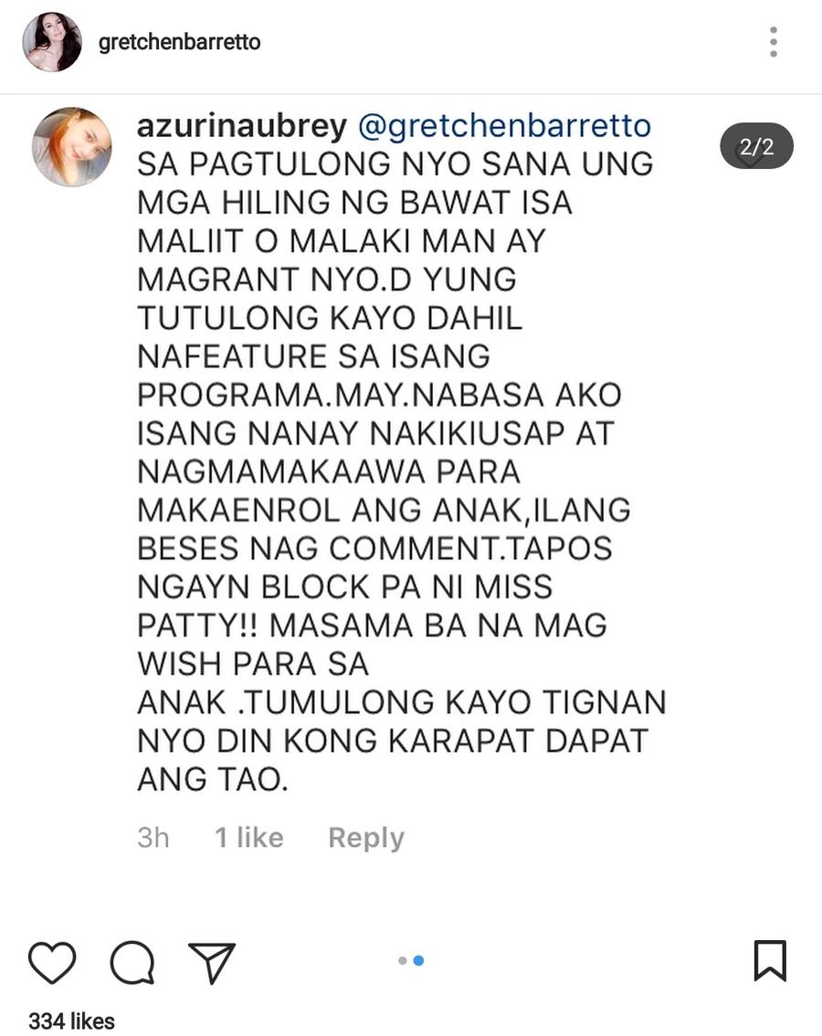 Gretchen Barretto, binatikos ng isang netizen dahil hindi nabigyan ng pang-enroll ang kanyang anak