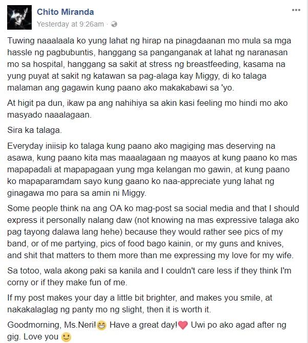 """""""Everyday iniisip ko talaga kung paano ako magiging mas deserving na asawa."""" Chito Miranda posts sweet message for Neri"""