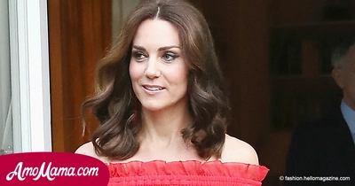 Duchess of Cambridge appeared in a red dress at a garden party. And it's very beautiful